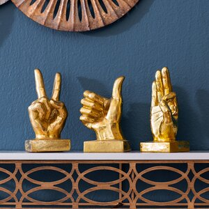 Metallic Hand 3 Piece Figurine Set