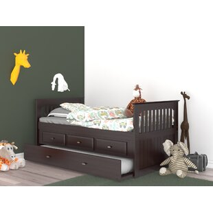 Dunleavy Twin Rake Slat Bed with Trundle and Drawers