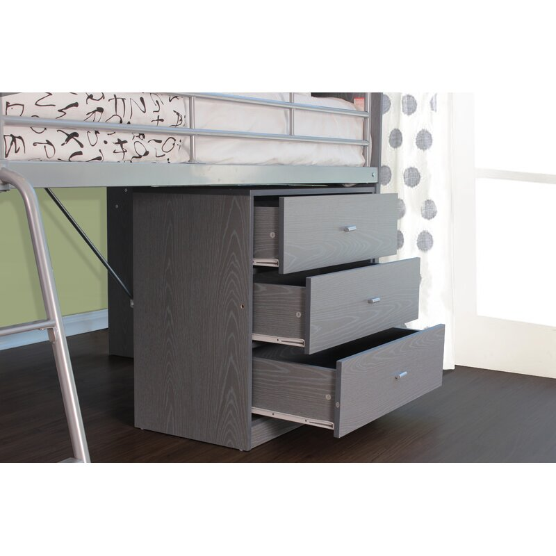 Mack Milo Alcester Twin Low Loft Bed With Desk And Storage