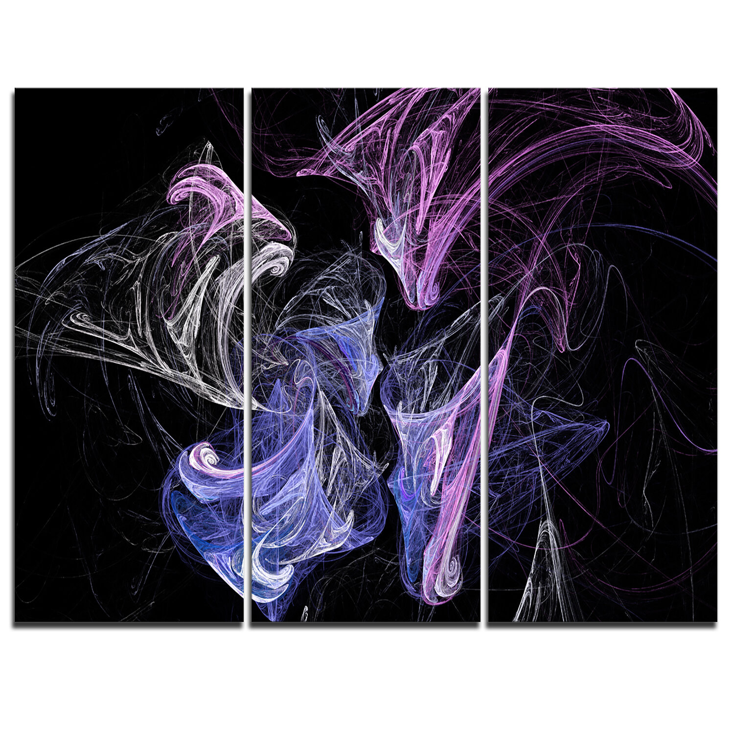 Designart Billowing Smoke Blue Purple 3 Piece Graphic Art On Wrapped Canvas Set Wayfair
