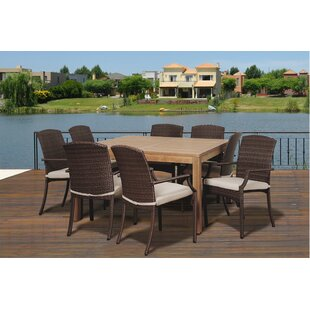 Beachcrest Home Garris 9 Piece Teak Dining Set With Cushions