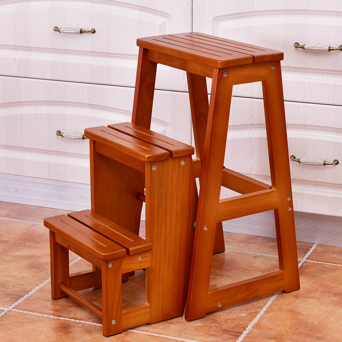 Swell Cantrell Folding 3 Step Wood Step Stool With 200 Lb Load Capacity Machost Co Dining Chair Design Ideas Machostcouk