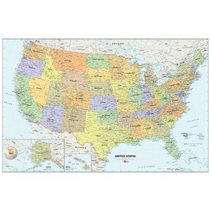"USA Dry-Erase Map 36' x 24"" Wall Mural"