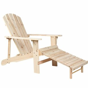 Millwood Pines Tamayo Natural Wooden Adirondack Chair with Ottoman