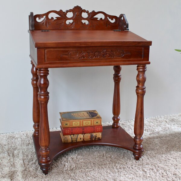 International Caravan Windsor Hand Carved Small Wood Writing Desk Reviews Wayfair