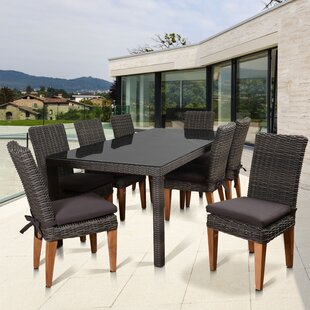 Beachcrest Home Elsmere Patio 9 Piece Teak Dining Set with Cushions