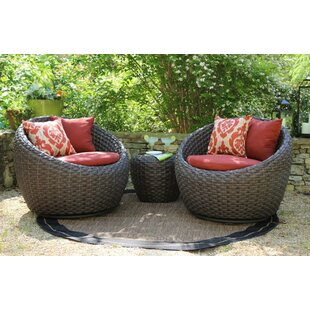 Bay Isle Home Corona 3 Piece Sunbrella Conversation Set with Cushions