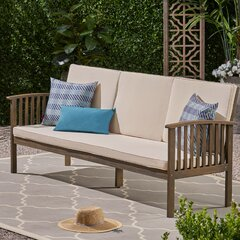 Gecheer 2-Seater Garden Sofa with Soft Padded Cushions and Armrest Bamboo Loveseat Couch Outdoor Bench for Backyard Balcony Poolside Furniture 45.3 x 25.6 x 28.3 Inches W x D x H