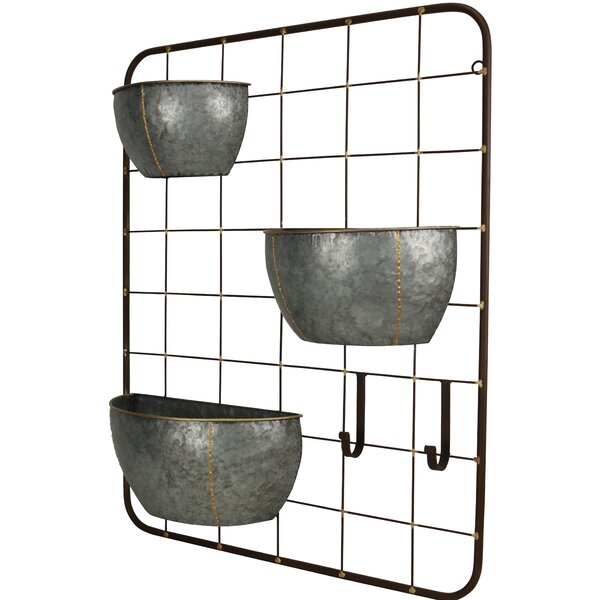 Gracie Oaks Primus 3 Pot With 2 Hook Metal Wall Planter & Reviews by Gracie Oaks