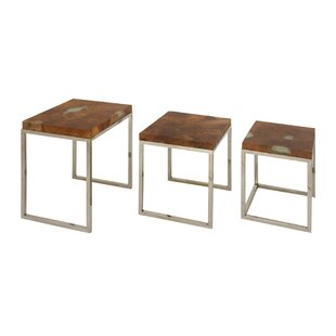 Cole & Grey Teak/Stainless Steel 3 Piece End Table Set