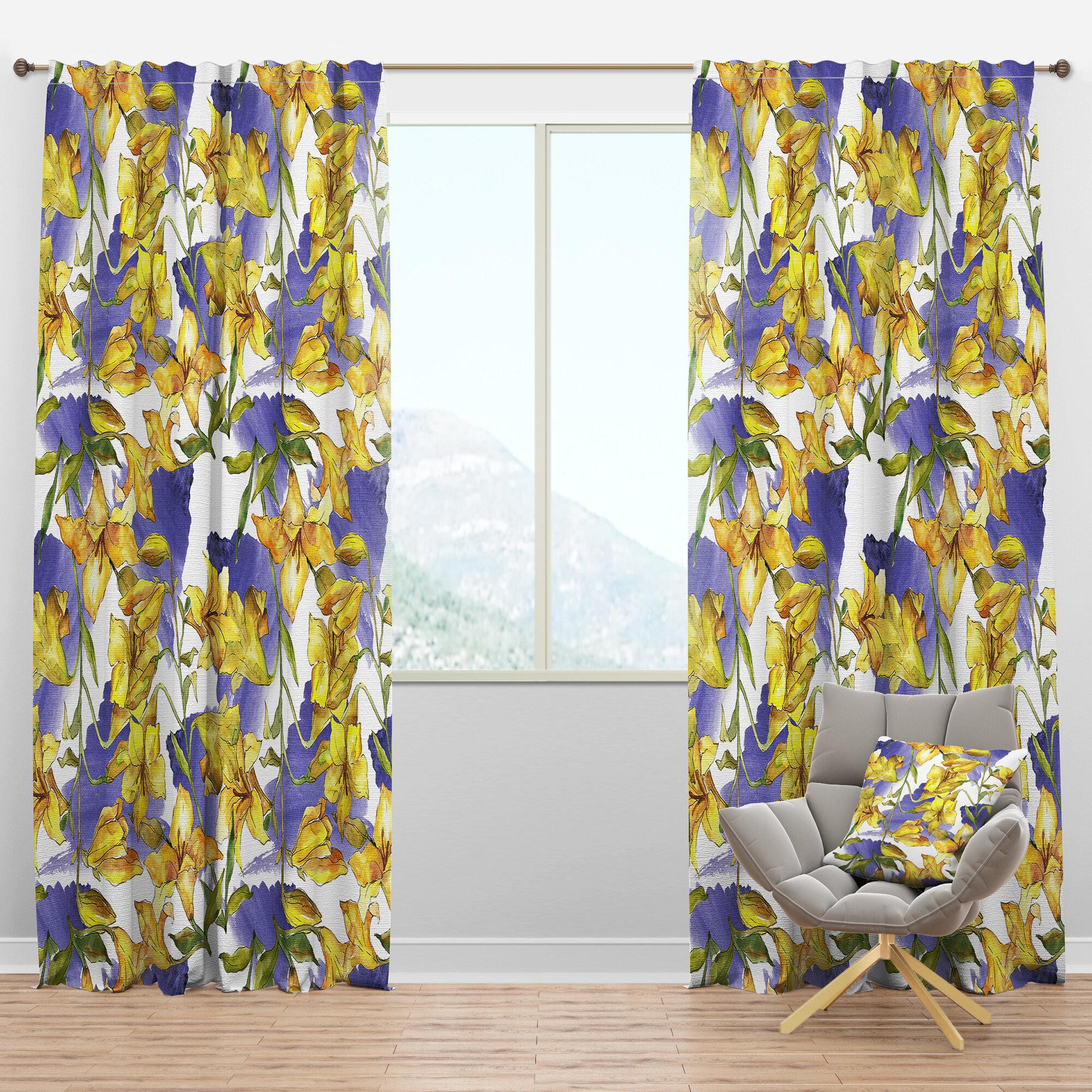 Designart Mid Century Handdrawn Poppies V Floral Semi Sheer Thermal Rod Pocket Curtain Panels Wayfair