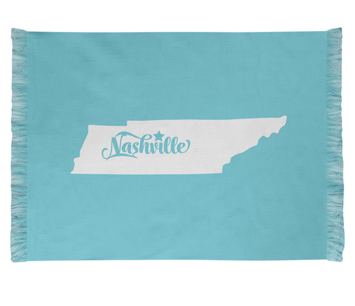 East Urban Home Nashville Tennessee Blue Area Rug Wayfair