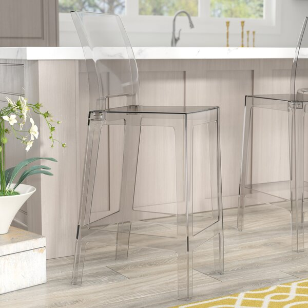 """Willa Arlo Interiors Darchelle 30"""" Transparent Crystal Bar Stool With Square Back & Reviews by Willa Arlo Interiors"""
