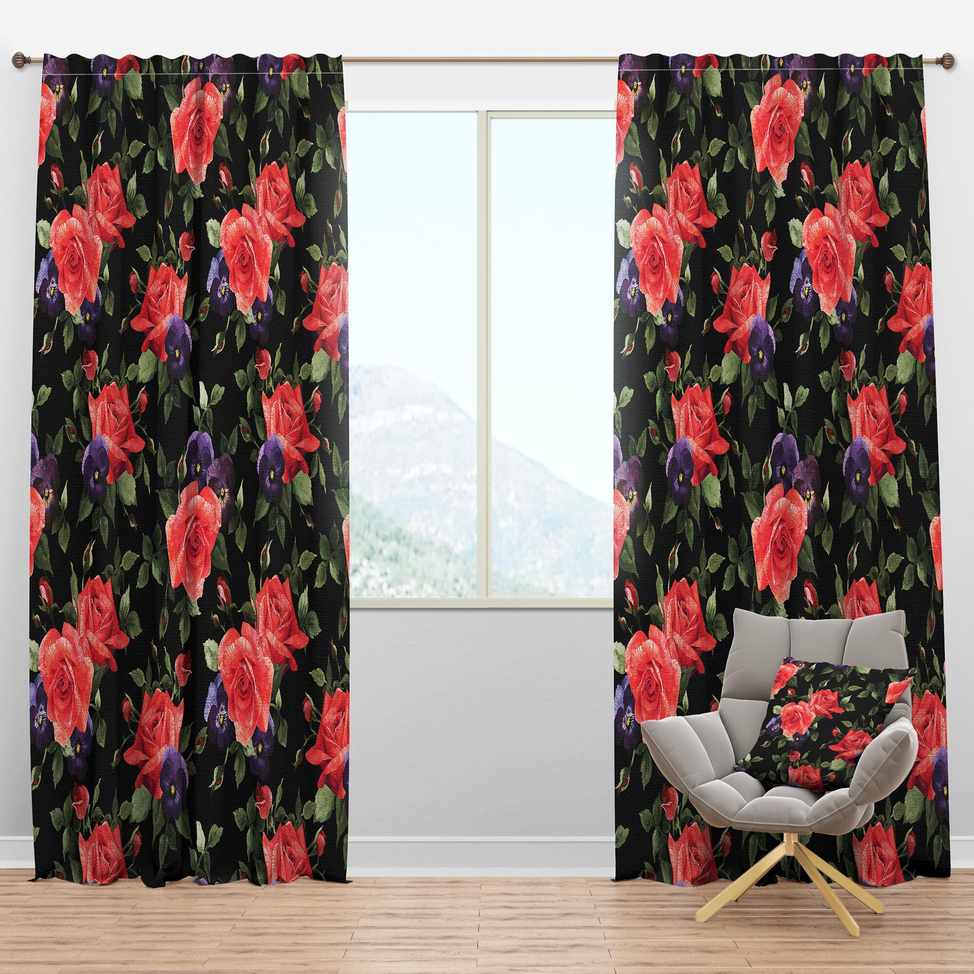 Designart Pansy Rose Floral Semi Sheer Thermal Rod Pocket Curtain Panel Wayfair
