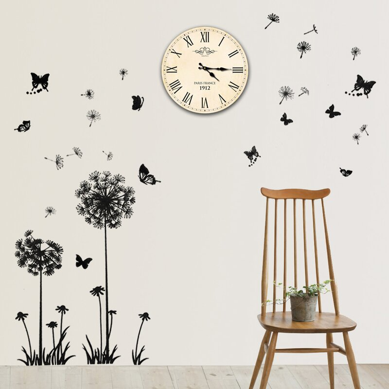 east urban home dandelion butterflies and paris clock wall sticker
