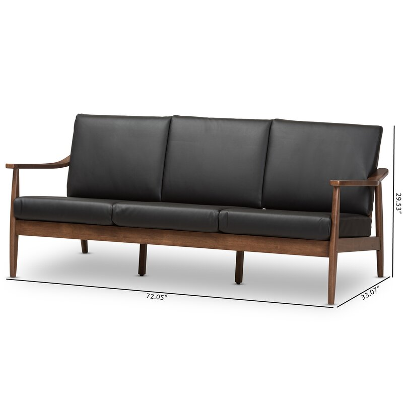 Great Kellner Mid Century Modern Faux Leather Sofa