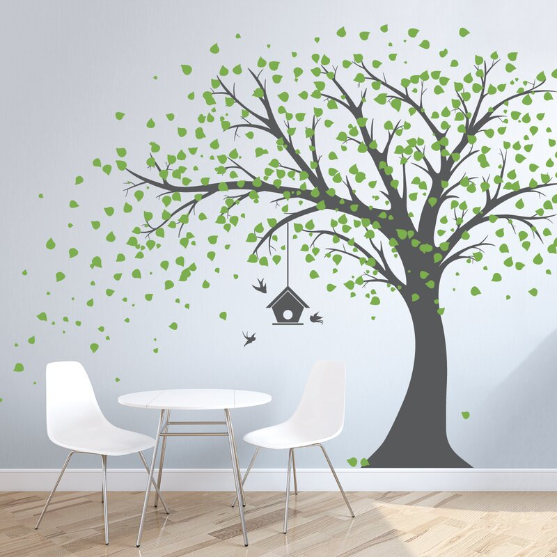 Large Windy Tree With Birdhouse Wall Decal Part 62
