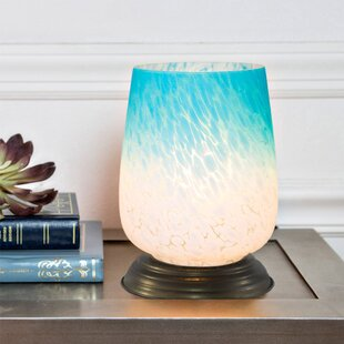 Blue glass lamp in commercial wayfair slyvia handblown glass 79 table lamp mozeypictures Images