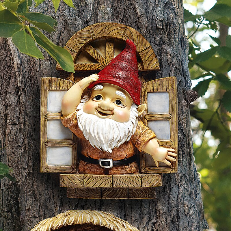Knothole Gnomes Window Gnome Garden Welcome Tree Statue