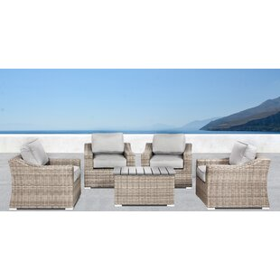 Huddleson 5 Piece 2 Person Seating Group with Cushions by Rosecliff Heights