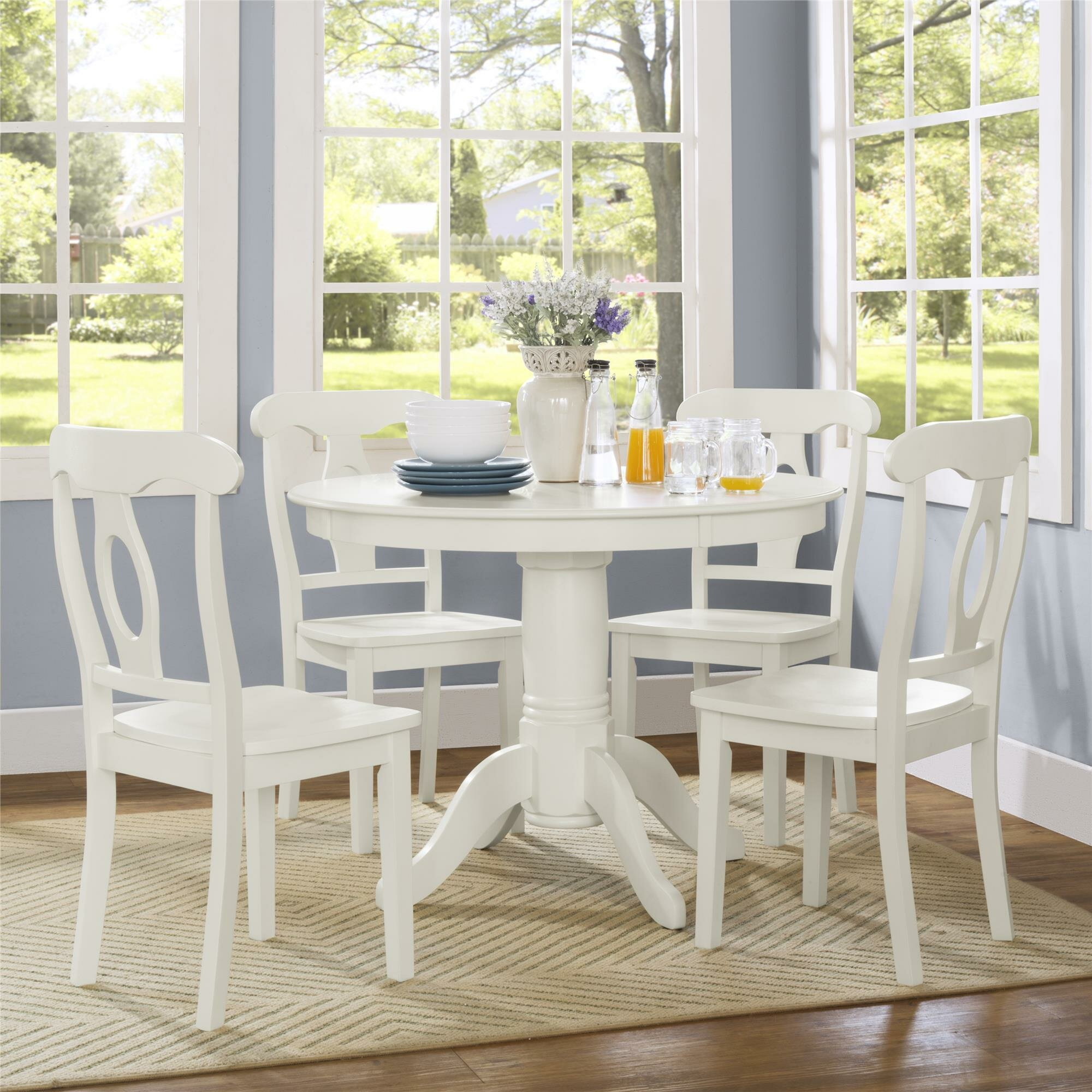 Gaskell 9   Person Rubberwood Solid Wood Dining Set