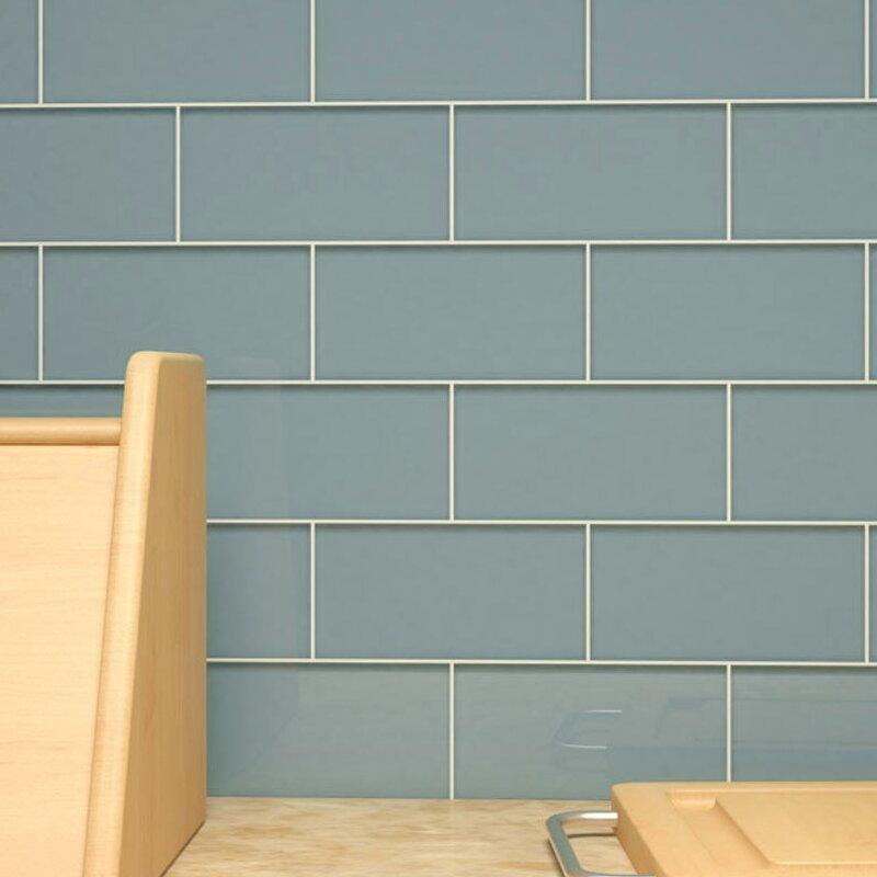 Giorbello 3 X 6 Glass Subway Tile In Slate Reviews Wayfair