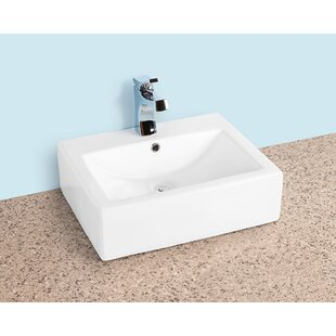 Price comparison Ceramic Rectangular Vessel Bathroom Sink with Overflow By Winfield products