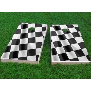 Custom Cornhole Boards Full Size Checkered Flag Cornhole Game (Set of 2)