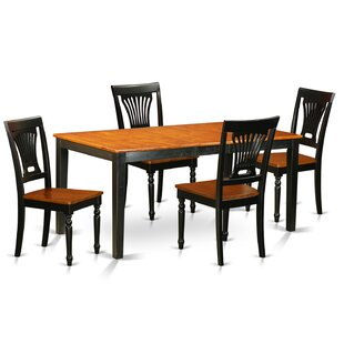 Pillar 5 Piece Dining Set with Rectangular Table Top August Grove