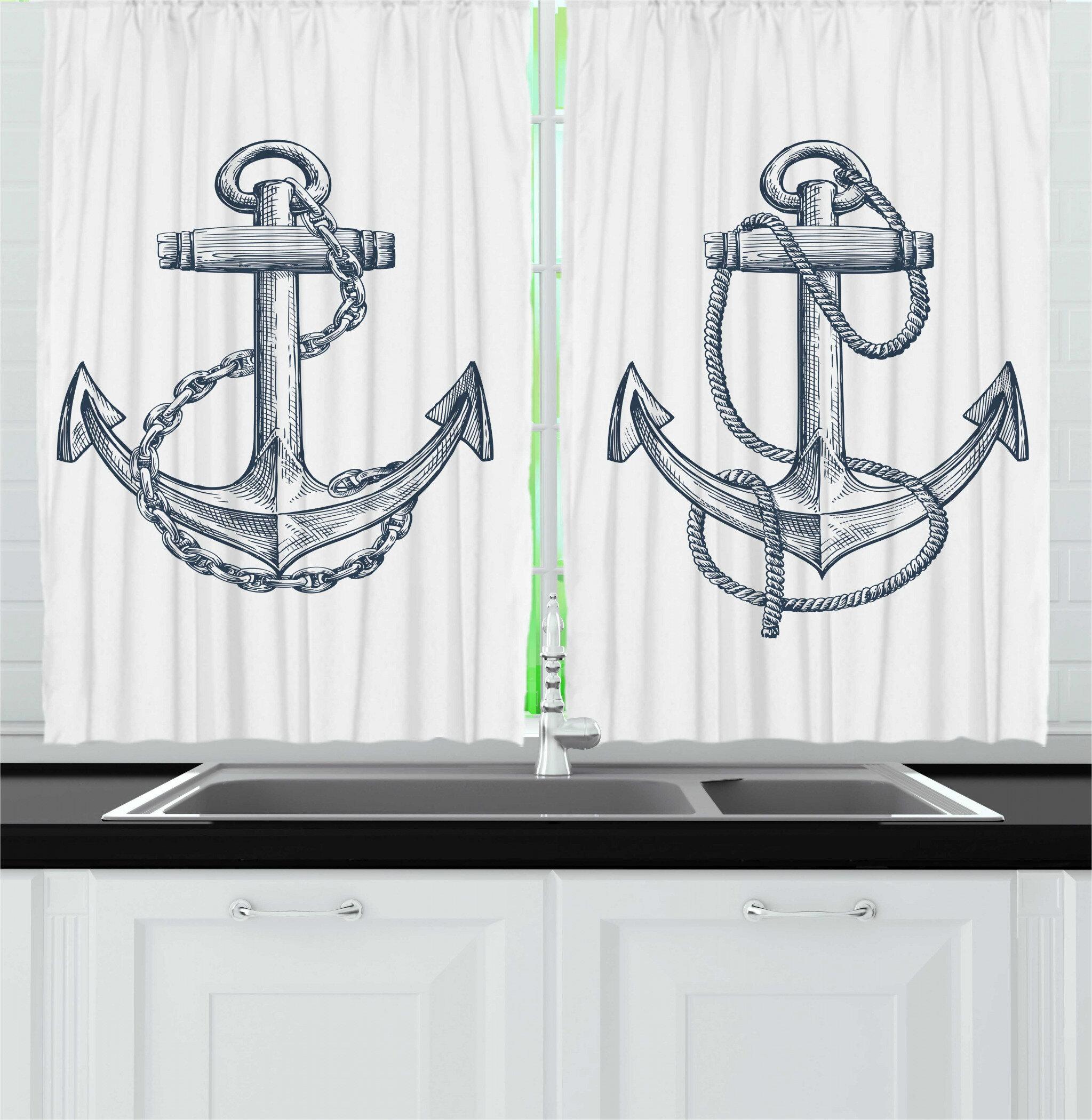 East Urban Home Anchor 2 Piece Kitchen Curtain Wayfair