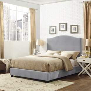 Gracie Oaks Sylwia Camelback Upholstered Fabric Panel Bed