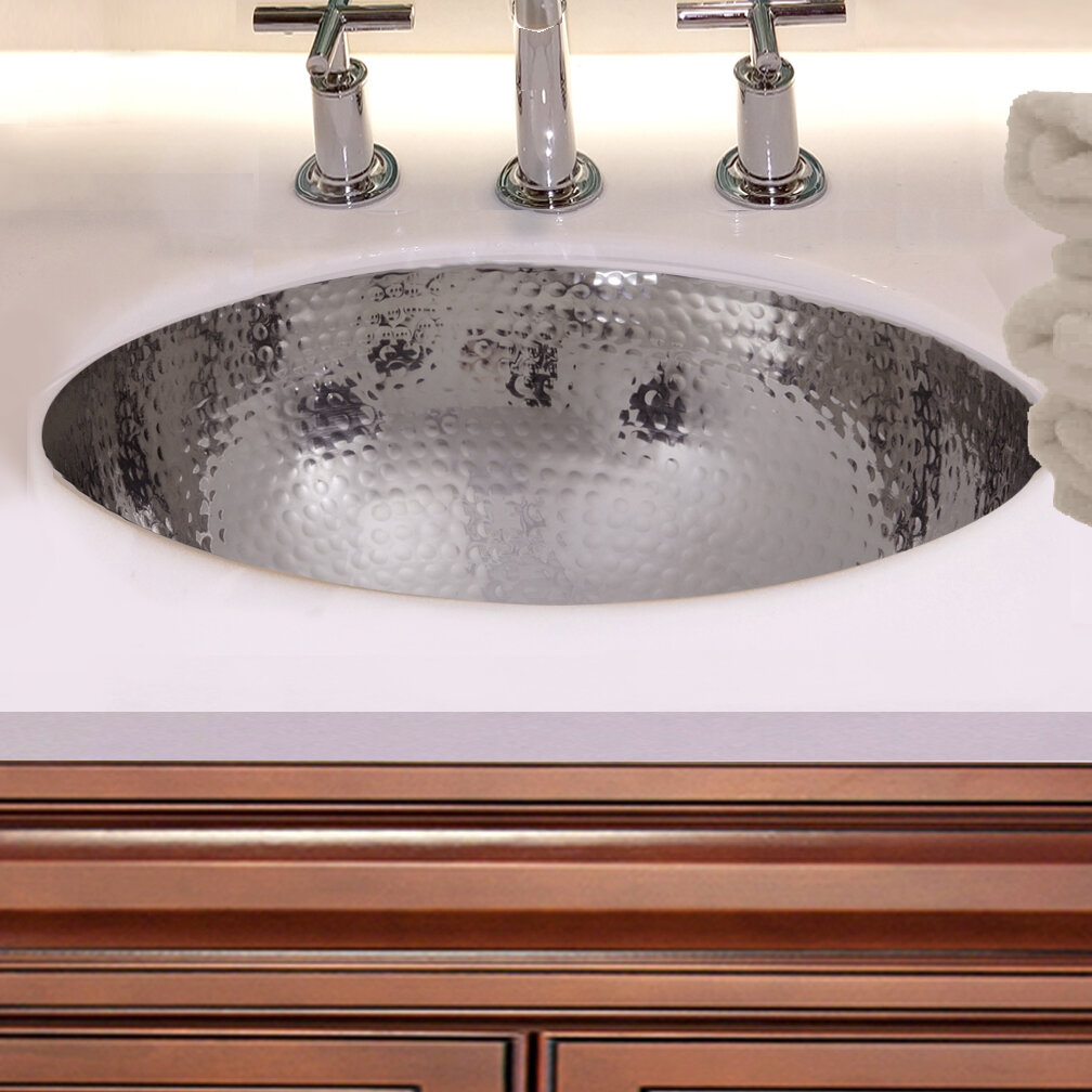 Admirable Hand Hammered Stainless Steel Circular Undermount Bathroom Sink With Overflow Beutiful Home Inspiration Xortanetmahrainfo