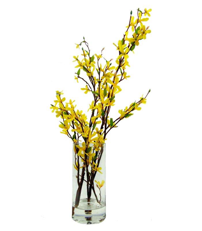 Creative Branch Faux Forsythia Floral Arrangement In Decorative Vase