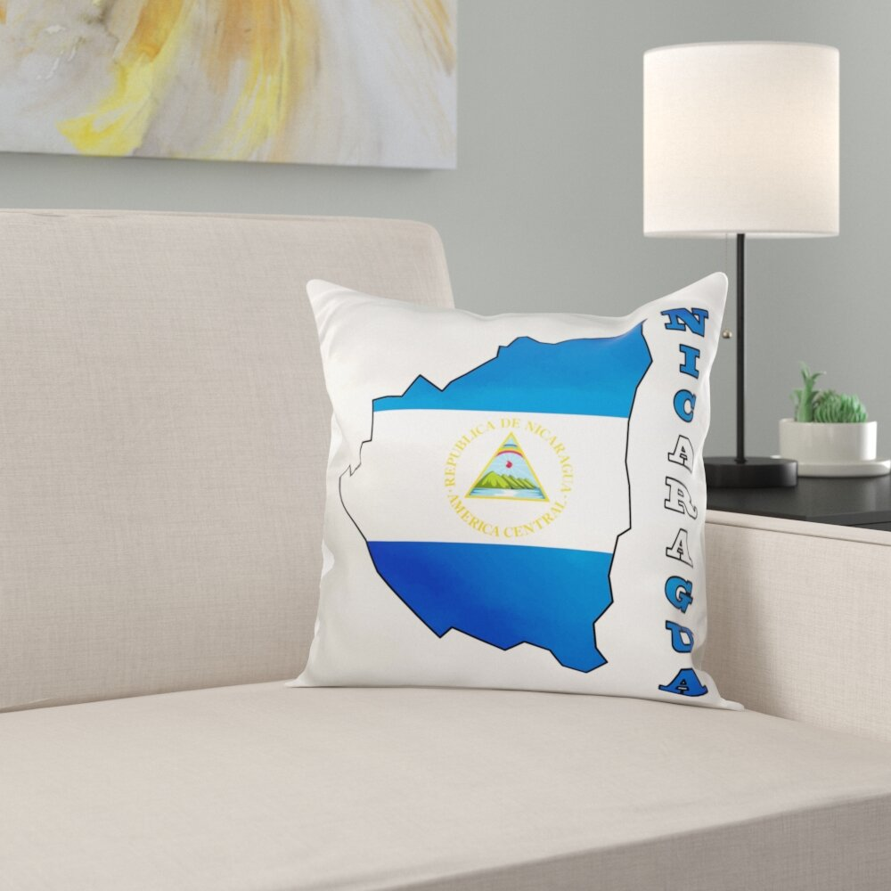 East Urban Home The Flag Of Nicaragua In The Outline Map And Name Of The Country Nicaragua Pillow Cover Wayfair
