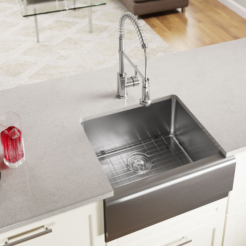 stainless steel 24   x 20   farmhouse kitchen sink with additional accessories mrdirect stainless steel 24   x 20   farmhouse kitchen sink with      rh   wayfair com