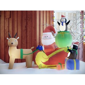 Christmas Inflatable Santa With Reindeer