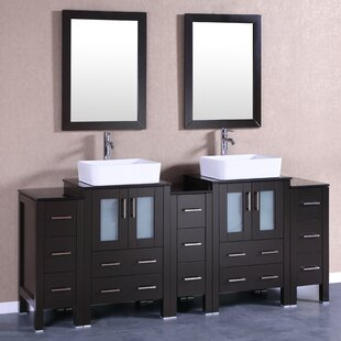 Cuba 84 Double Bathroom Vanity Set with Mirror by Bosconi