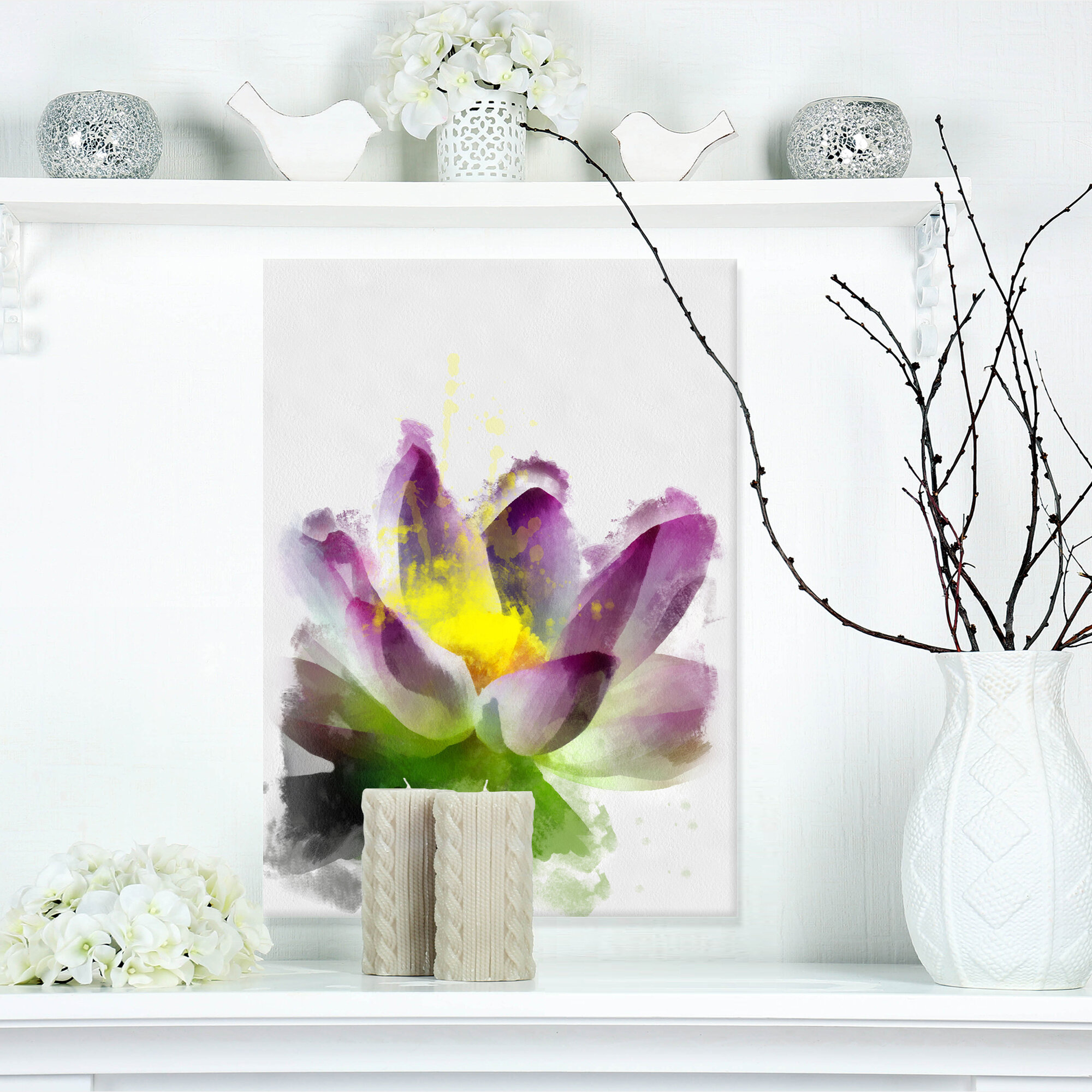 Designart Lotus Flower Sketch Watercolor Painting Print On Wrapped