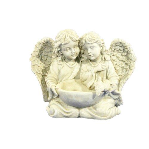 Pair of Angels with Bird Bath Frison Figurine Astoria Grand