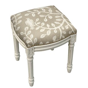 123 Creations Birds and Vines Linen Upholstered Vanity Stool