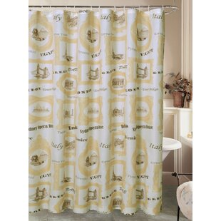 Cathcart El Mundo Worldly Travel Canvas Fabric Single Shower Curtain with Roller Hook