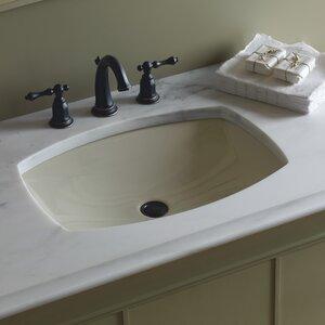 Kelstonu00ae Ceramic Rectangular Undermount Bathroom Sink with Overflow