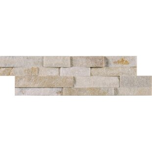 Arctic Golden Random Size Natural Stone Splitface Tile in White