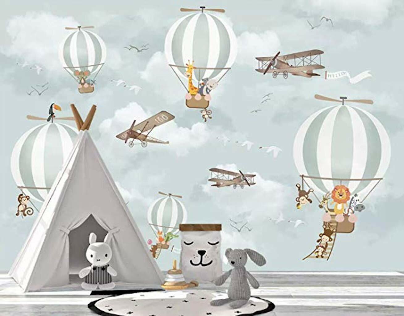 Gk Wall Design Hot Air Balloon Animals And Airplane Textile Wallpaper Wayfair