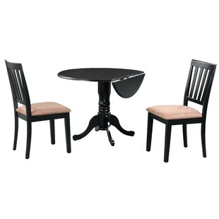 Brompton 3 PieceDrop Leaf Solid Wood Dining Set by Alcott Hill