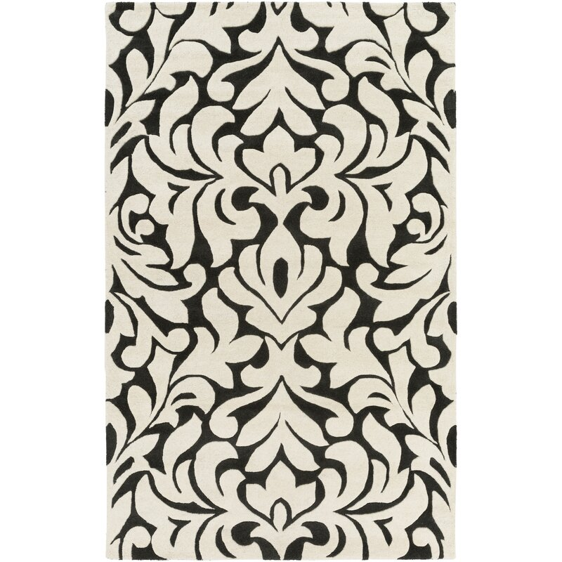 Astoria Grand Strauss-MatathiaHand-Tufted Violet/Ivory Area Rug, Size: Rectangle 8 x 10