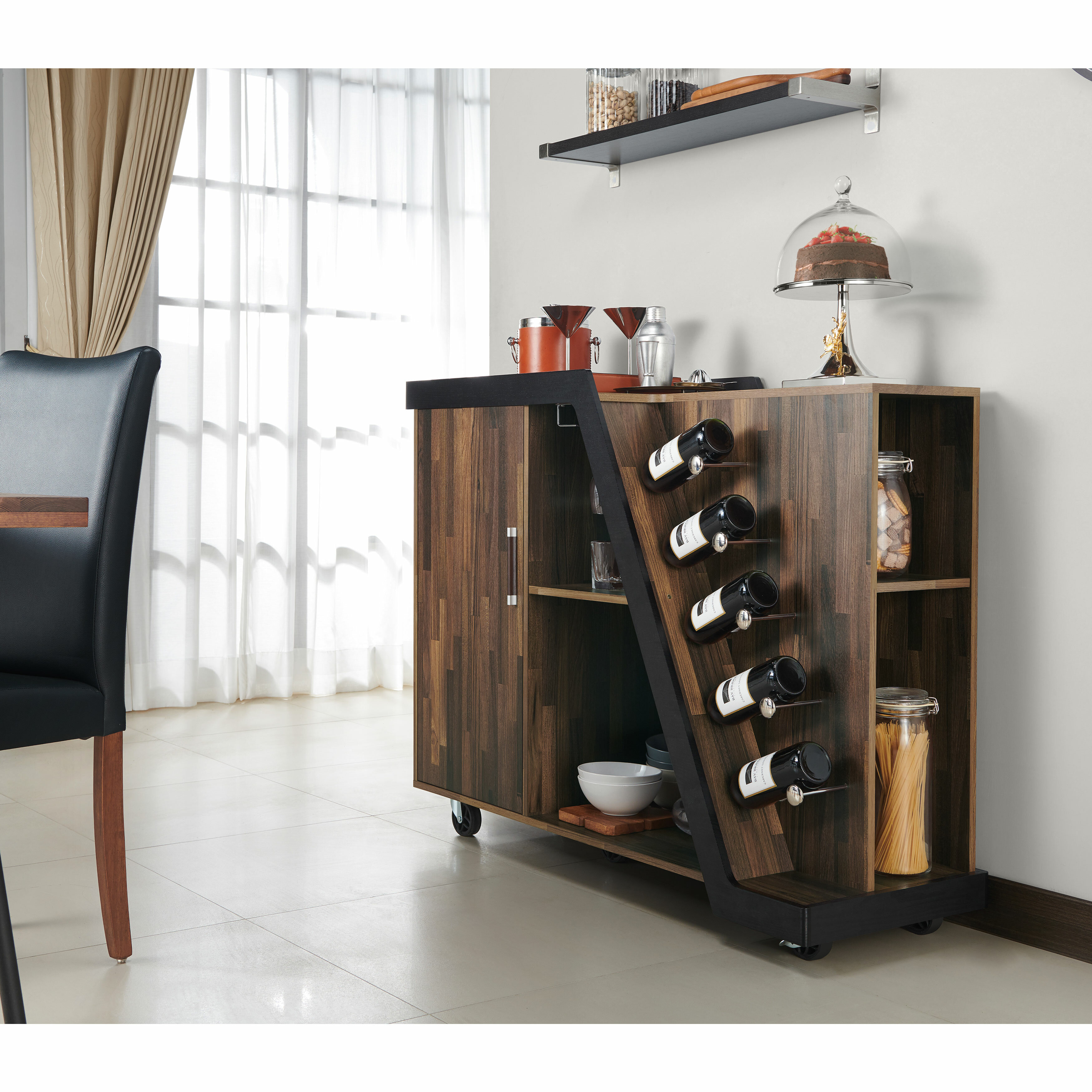 Brayden Studio Simonds Mobile Bar With Wine Storage Reviews