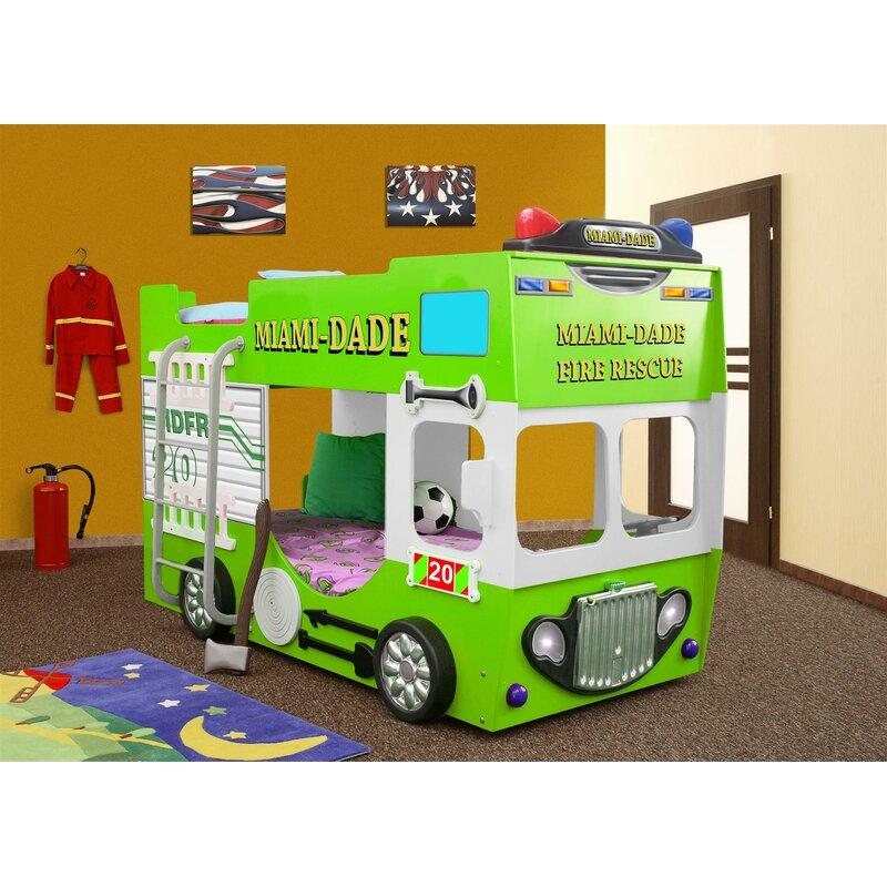 Zoomie Kids Lutterworth Fire Truck Toddler Bunk Bed With Mattress