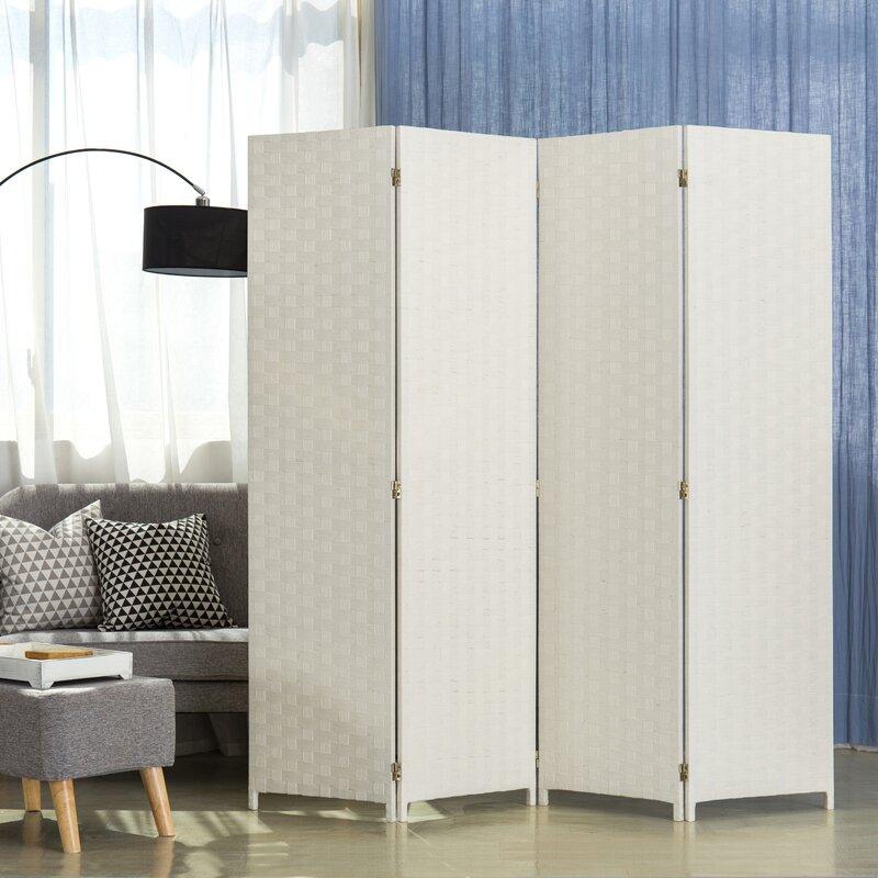Ebern Designs Annell 78 7 4 Panel Folding Room Divider Wayfair