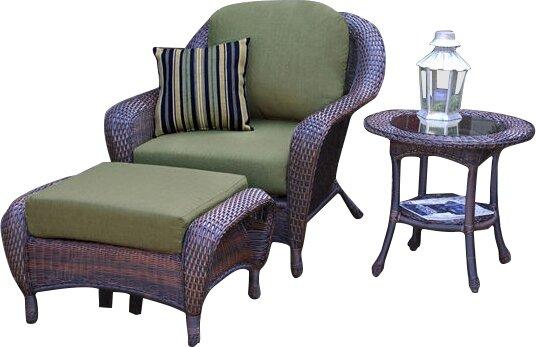 Fleischmann 3 Piece Arm Chair, Ottoman And Table Set With Cushions
